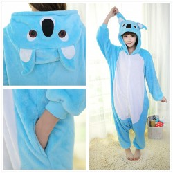 Adult Costume Blue Koala Onesie Pajama For Halloween