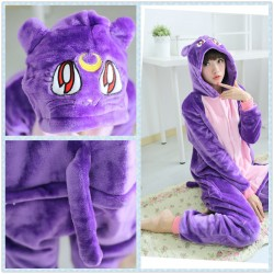 Adult Animal Onesie Cat Flannel Animal Purple Cat Pajamas
