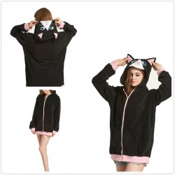 Black Kitty Cat Kigurumi Hoodie Pajama