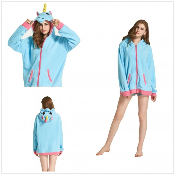 Bule Flannel Unicorn Kigurumi Zip-up Hoodie Pajama