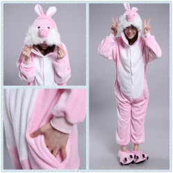 Chinese Zodiac Signs Pink Rabbit Kigurumi Animal onesies Pajamas Costumes