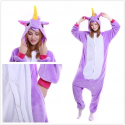 Purple Unicorn Kigurumi Onesie Pajama For Adult Costume