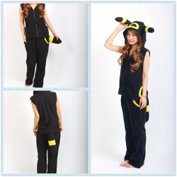 Pokemon Umbreon Eevee Yellow Black Kigurumi Hoodie Tops with Pants