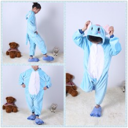 Animal Kids Blue Elephant Kigurumi Onesie Pajama