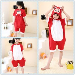 Kids Red Fox Short Sleeves Kigurumi Onesie Pajama