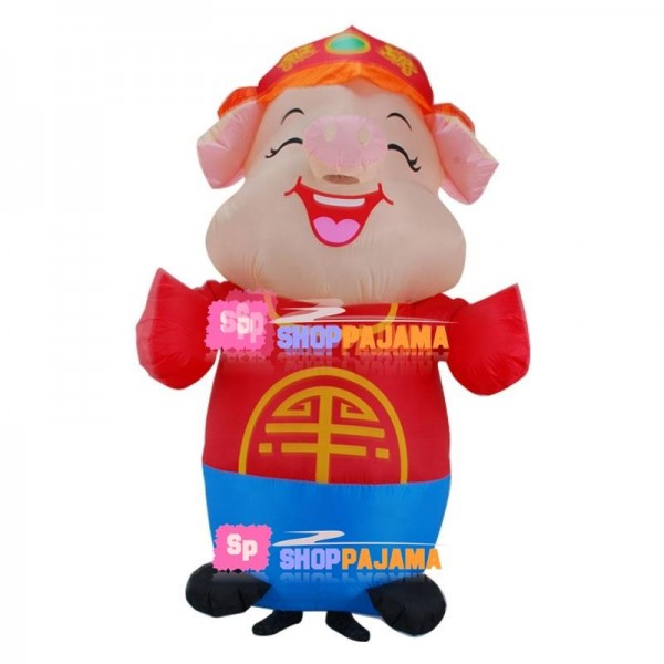 Inflatable Smiley Lucky Pig Mascot Costume
