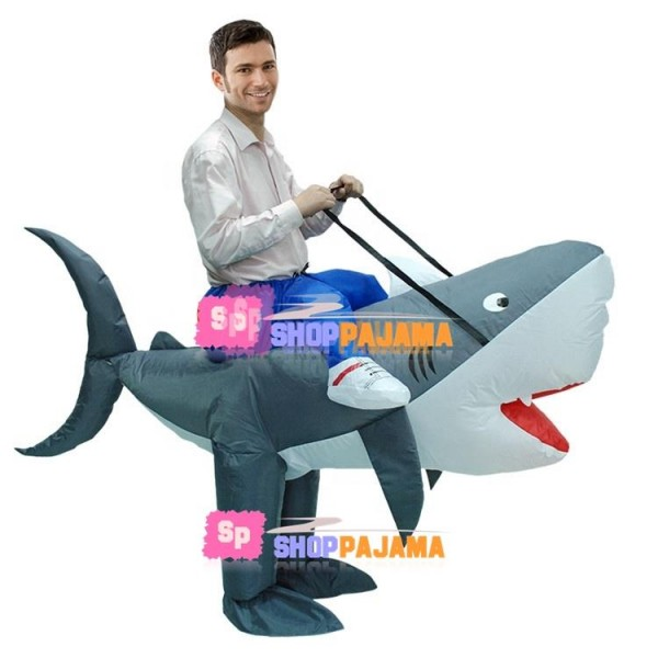 Adult Size Inflatable Riding Shark Mascot Costume
