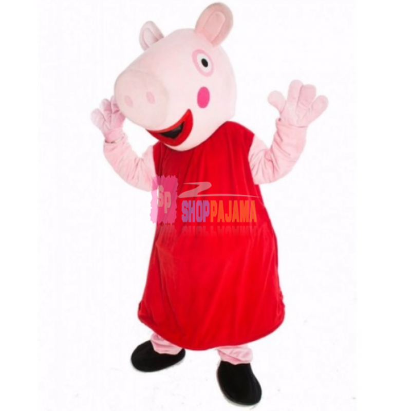 Fancy Cartoon Pig In The Red Dress Mascot Costume