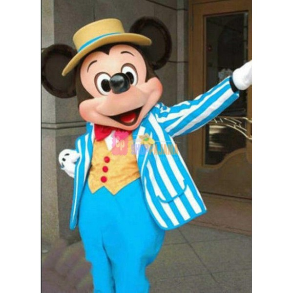 Disney Navy Blue Mickey Mouse Mascot Costume Party Game Adult Size Fancy Dress