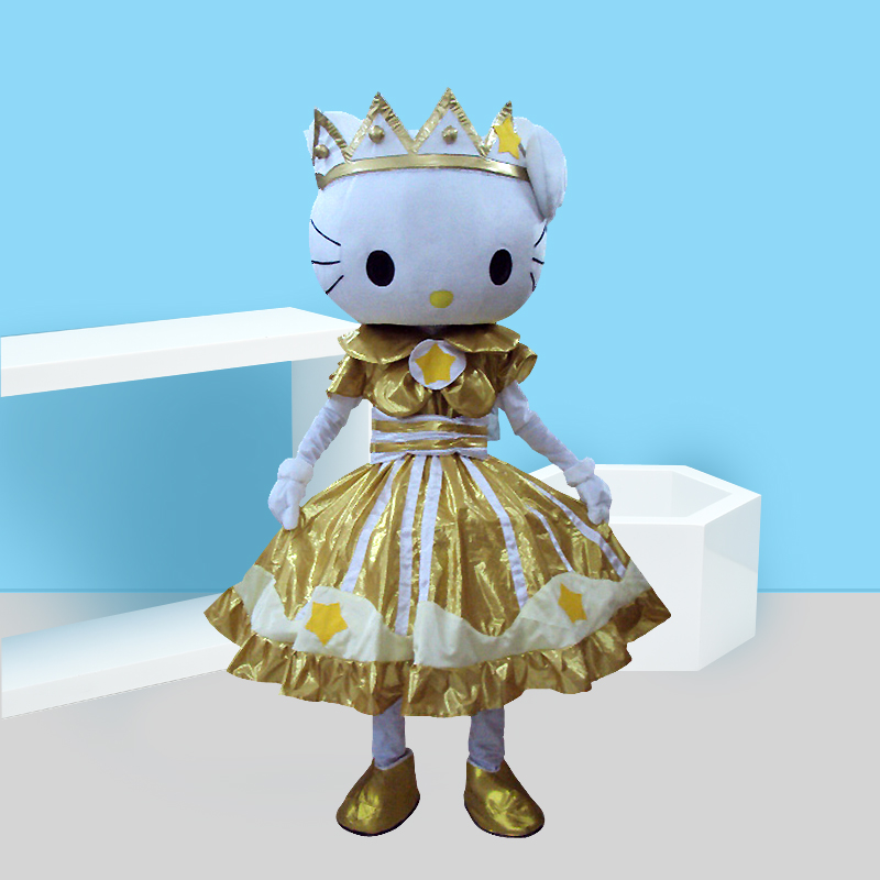 Hello Kitty Mascot Costume Gold Fancy Dress