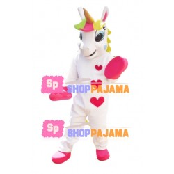 Beautiful Unicorn With Love Print Mascot Costume