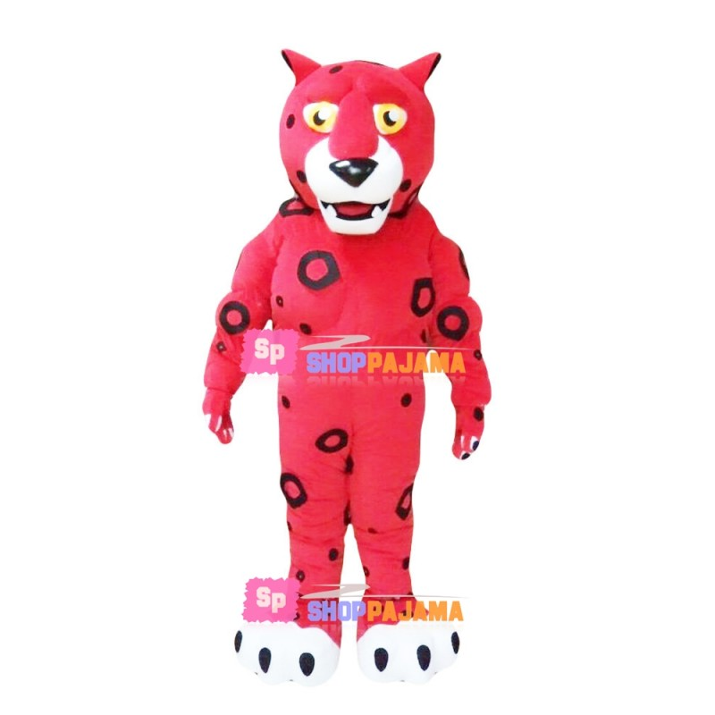Red Leopard Mascot Costume With Print Circles