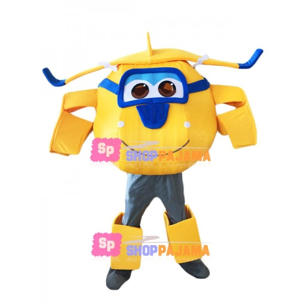 Yellow Donnie Mascot Super Wings Costume