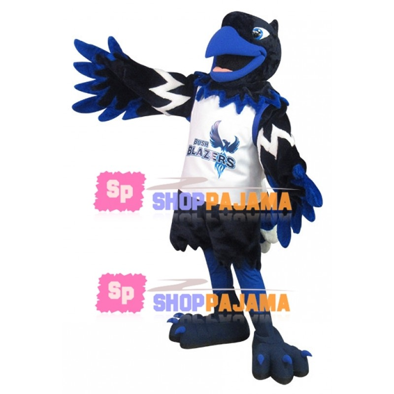 Black & Blue Eagle In Printed Vest Mascot Costume