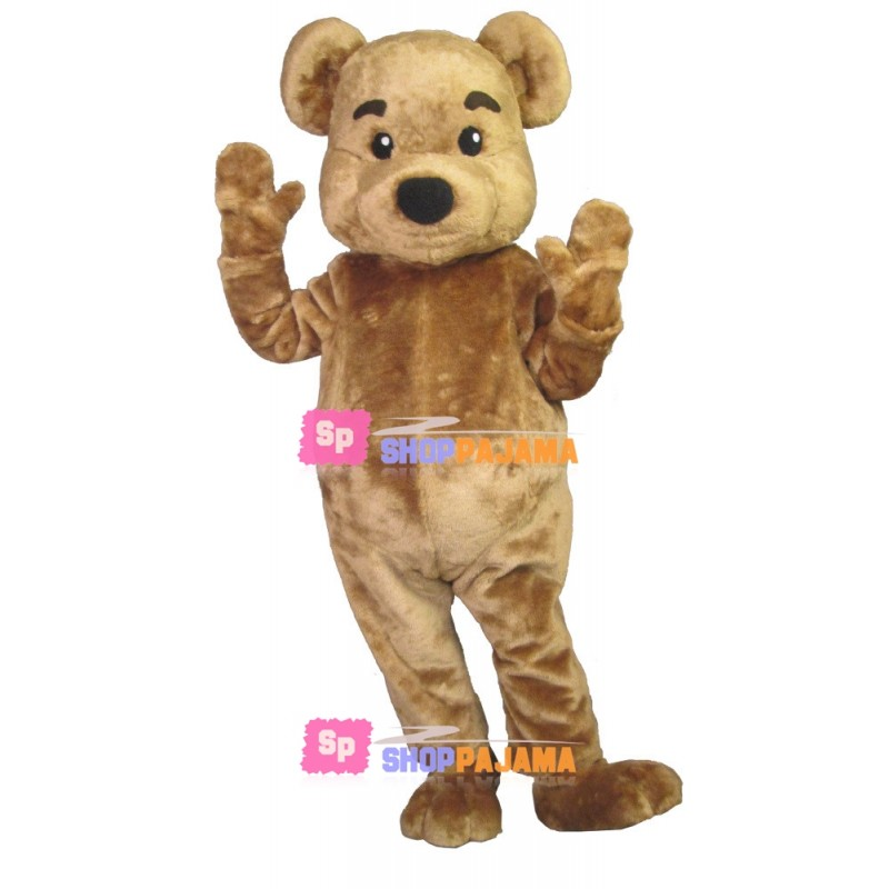 Brown Bear With Raised Eyebrows Mascot Costume