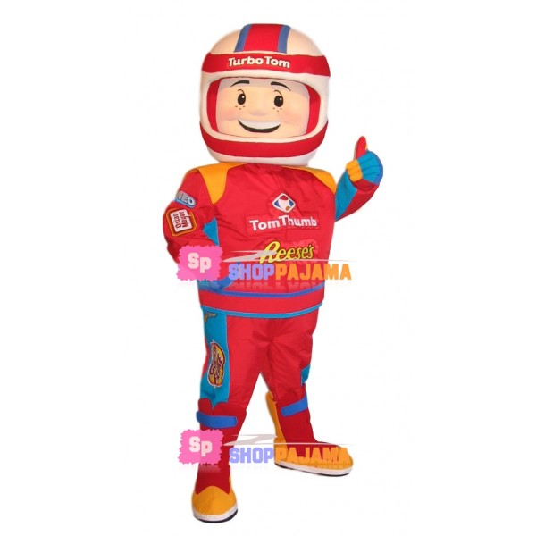 Great Racer In The Red Racing Suit Mascot Costume