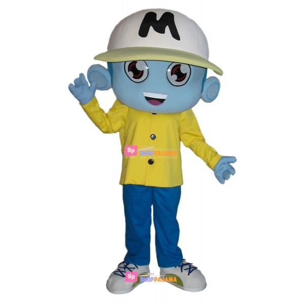 Blue Skin Boy With Student Hat Mascot Costume
