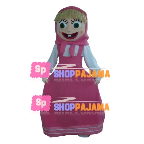 Naughty Girl Masha In Pink Dress Mascot Costume