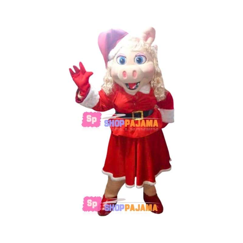 Silver-haired Mother Pig In Christmas Dress Mascot Costume