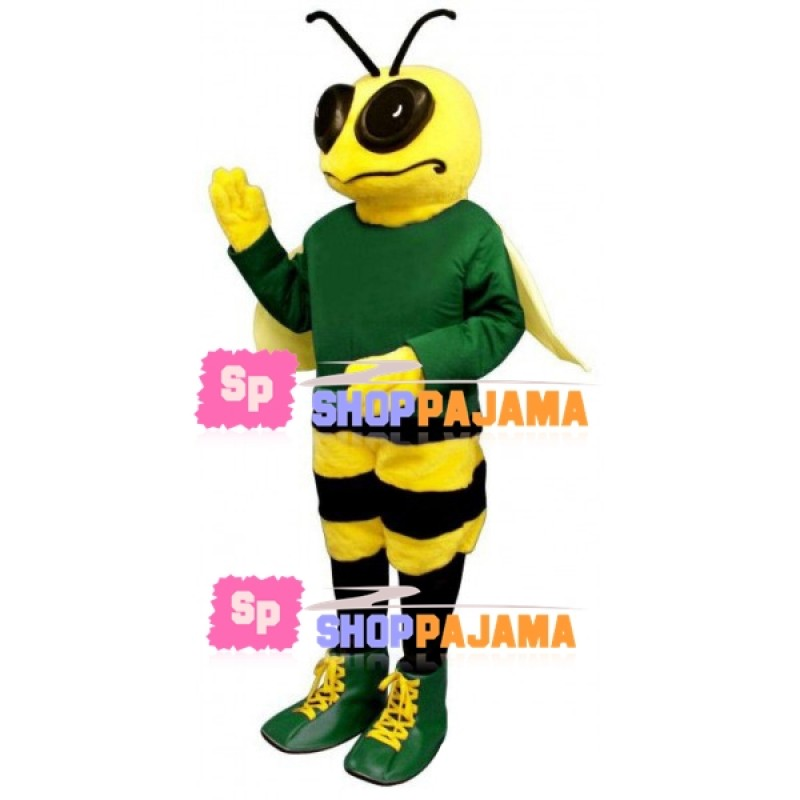 Pouting Bee In The Green Shirt Mascot Costume