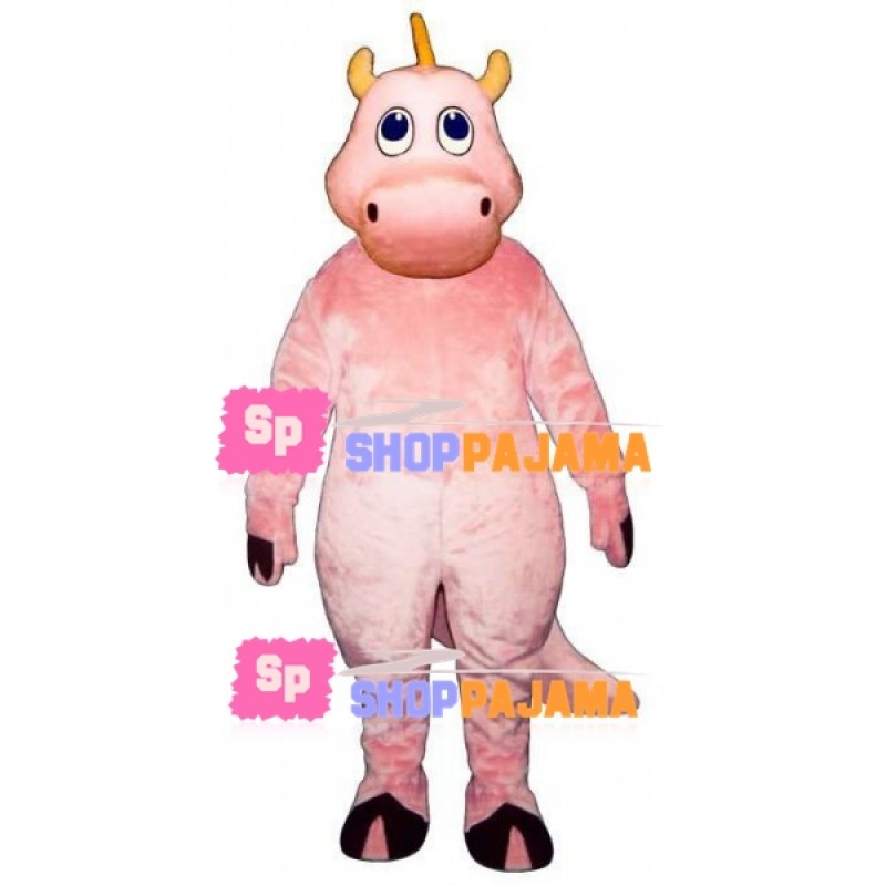 Pink Dragon With Short Horns Mascot Costume