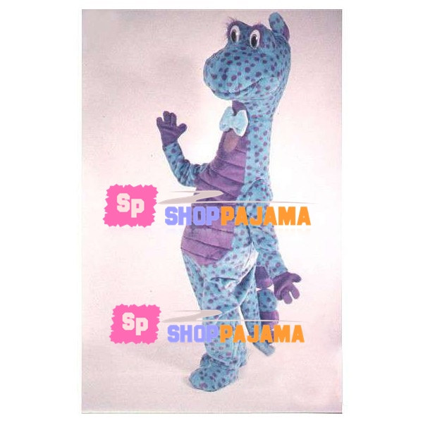 Blue Spotted Dinosaur With Long Neck Mascot Costume