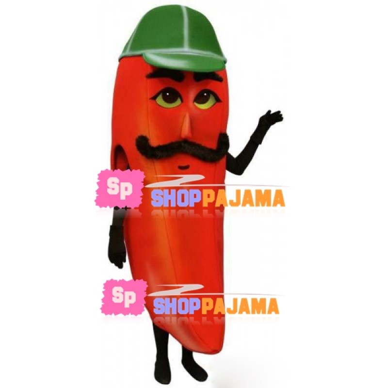 Cartoon Chili Doll With Mustache Mascot Costume