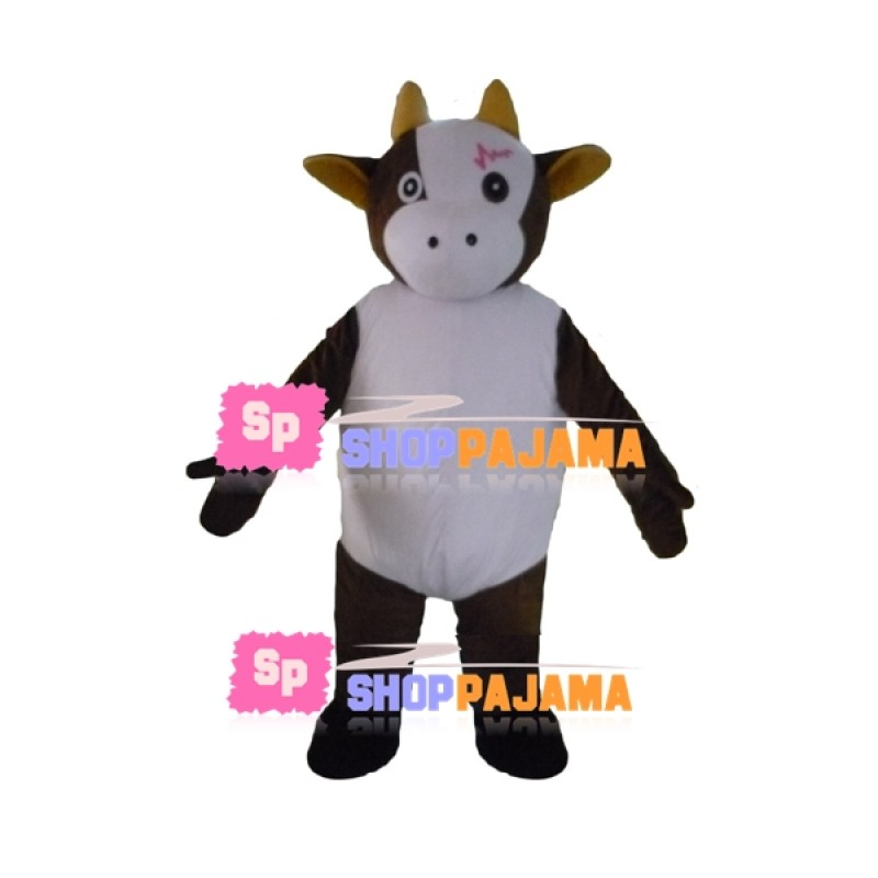 Marked Calf of The Farm Mascot Costume
