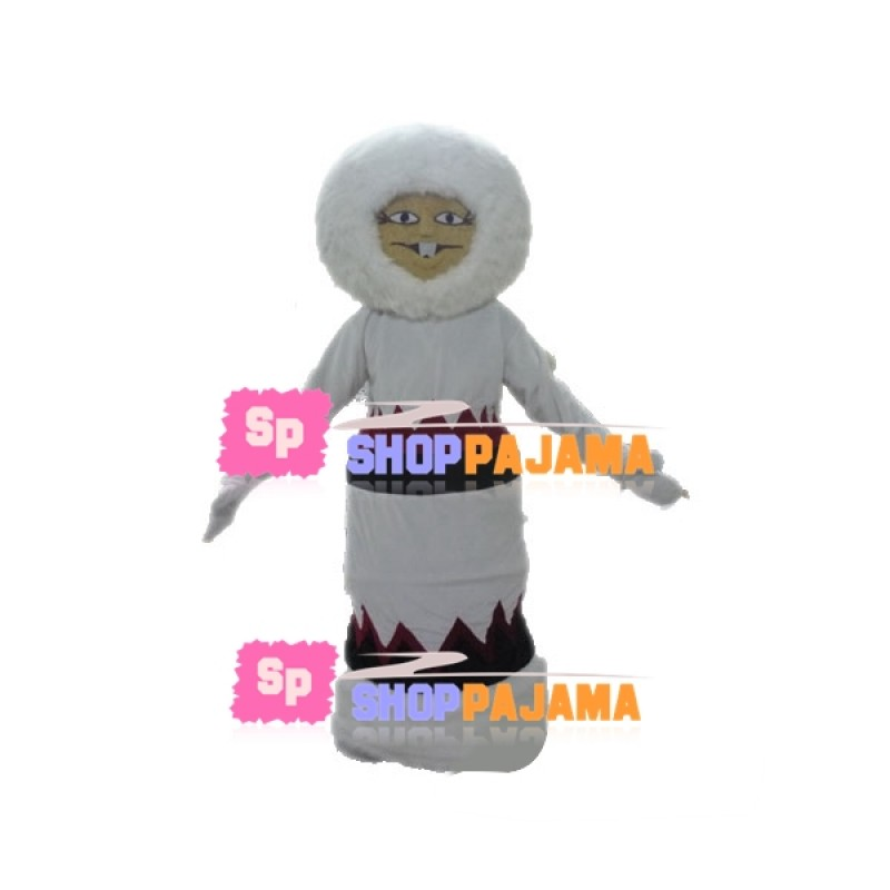Thick Furry Snow Monster Mascot Costume