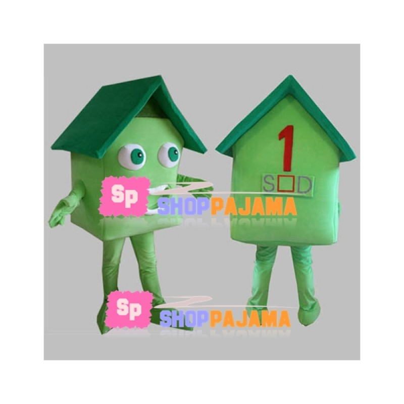 Green Meadow Eco-friendly House Mascot Costume