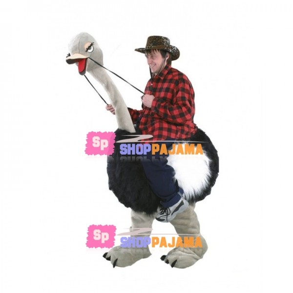 Carry Me Ride On Ostrich Long Fur Costume Animal Funny Pants Novelty