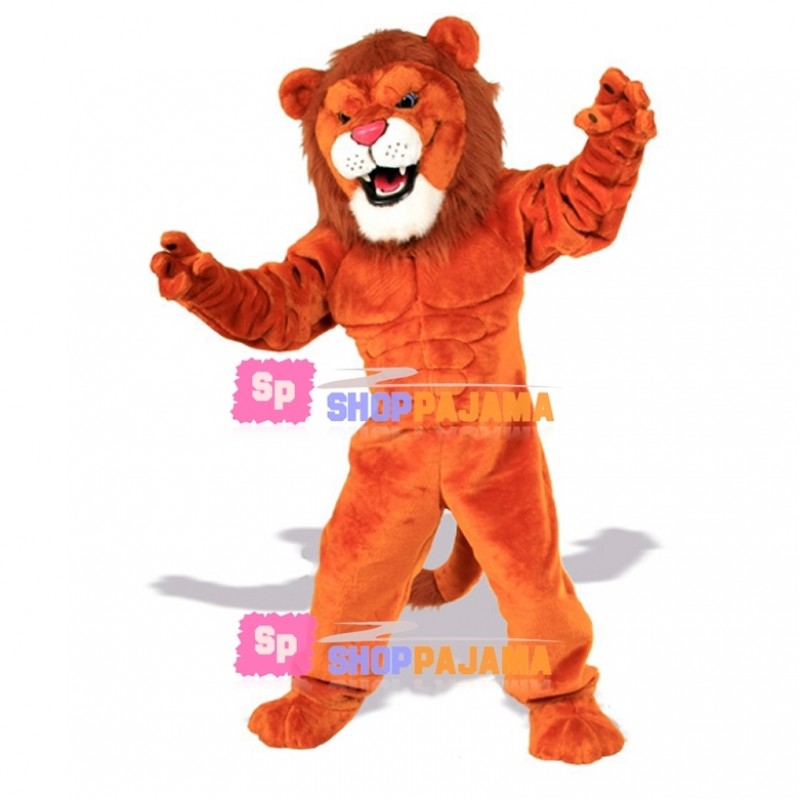 Power Orange Lion Mascot Costume