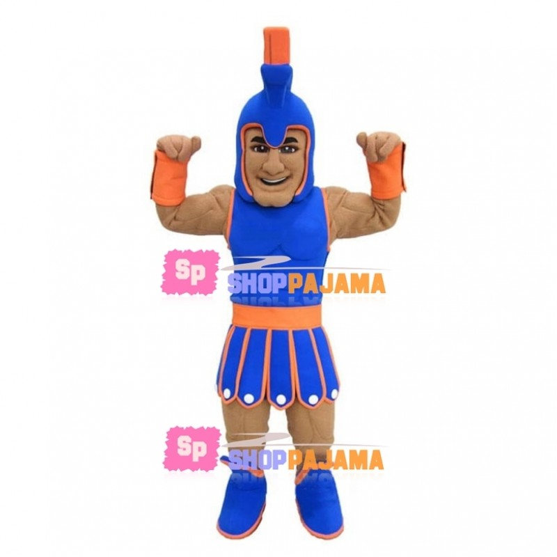 Blue & Orange Trojan Mascot Costume