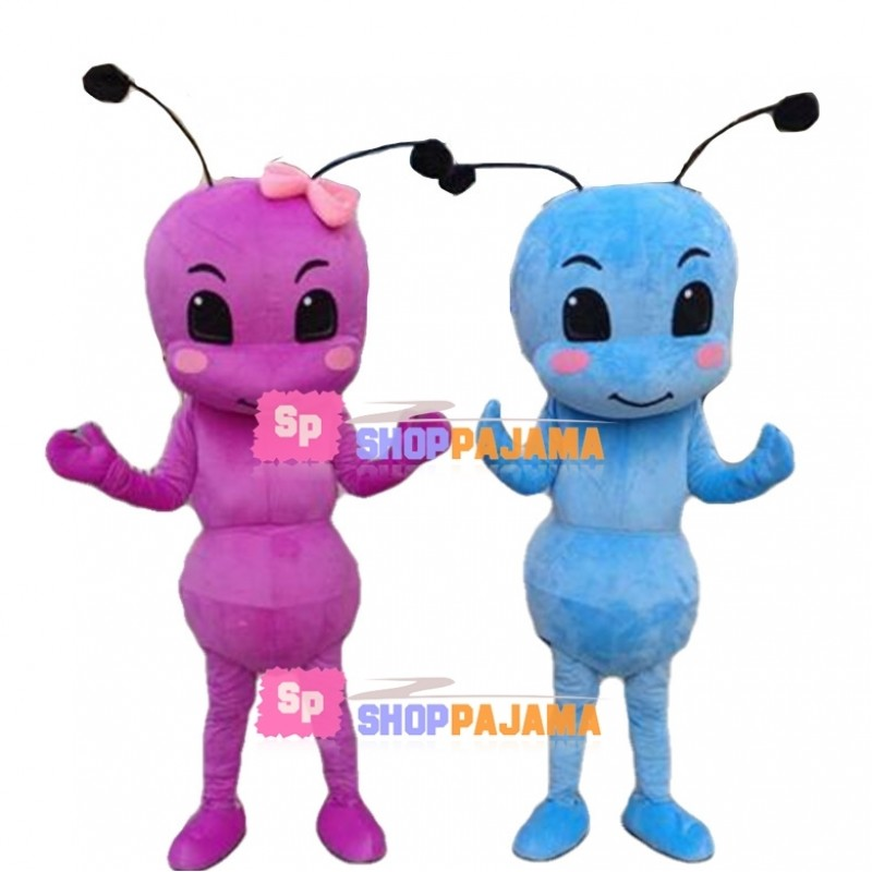 Adult Cartoon Blue Ant & Pink Ant With Bow Hair Accessories Mascot Costume