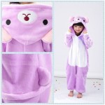 Kids Purple Rilakkuma Cat Onesie Pajama Children Kigurumi Costume