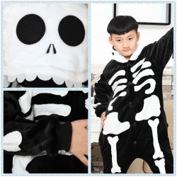 Kids Skeleton Onesies Pajamas  Childreen Hoodie Kigurumi Sleepwear