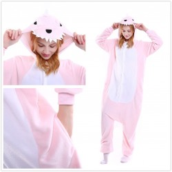 Women Pink Wolf Kigurumi Onesie Adult Jumpsuit Animal Pajamas