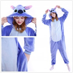 Unisex Blue Stitch Onesie Flannel Hoodie Stitch Pajamas
