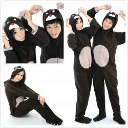 Christmas Black Deer Onesie Adult Unisex Footed Pajamas Sleepsuit