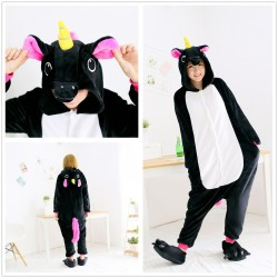 Anime Unisex Adult Black Unicorn Kigurumi Onesie Pajamas