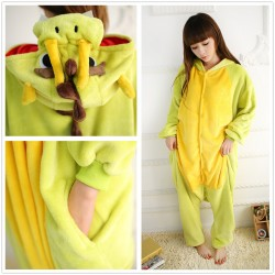 Yellow Chinese Dragon Onesies Animal Costume Kigurumi Pajamas