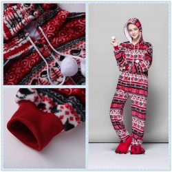 Red Bird Print Pajama Set Kigurumi Onesie Flannel Adult Hooded