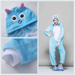 Blue Cat Unisex Flannel Hoodie Onesie Pajamas Costume
