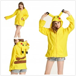 Winter Flannel Cartoon Animal Pikachu Hoodies With Ears Pokemon Coat Jacket