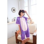 Animal Unisex Adult Summer Purple Cat Onesies Hoodie Kigurumi Pajamas