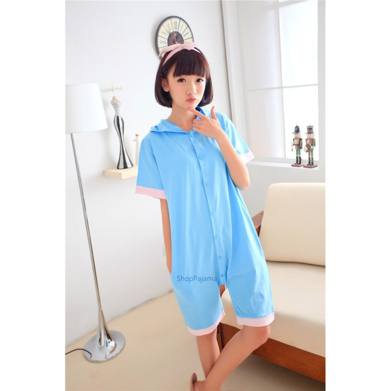 e2292345da Animal Unisex Adult Summer Blue Elephant Kigurumi Onesie Pajamas