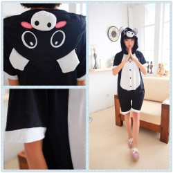 Animal Unisex Adult Summer Black Pig Kigurumi Onesie Pajamas
