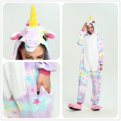 Allover Stars Plush Unicorn Onesie Adult Unicorn Pajamas
